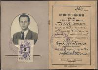 Tóth István ügyvédi kamarai igazolványa, 1957. április 1.