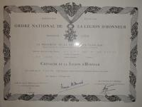 Lucien Hervé Francia Becsületrend oklevele